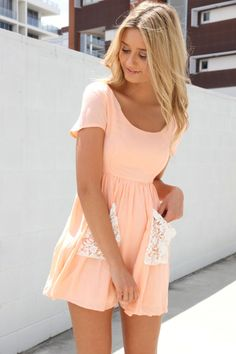 Crochet detail pocket peach color mini dress