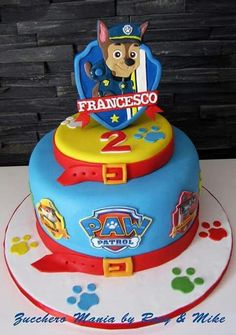 is on the cake! Love this awesome PAW Patrol cake inspiration.Chase is on the cake! Love this awesome PAW Patrol cake inspiration. Paw Patrol Chase Cake, Torta Paw Patrol, Paw Patrol Badge, Paw Patrol Birthday Cake, Paw Patrol Party, 4th Birthday Parties, Birthday Fun, Birthday Cakes, Birthday Ideas
