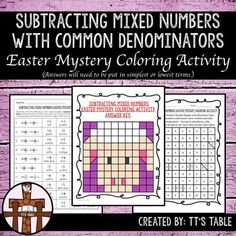 Great for test prep, math centers, holiday activity, or just a fun review of math skills!In this activity your students will have 10 subtraction with mixed number problems, where students will need to reduce answers to simplest or lowest terms. As students correctly identify differences, their answers will be linked to colors, and the colors will be used to complete an Easter themed mystery coloring activity.This product is 4 of 6 Easter Mystery Coloring Activities that will be an Easter…