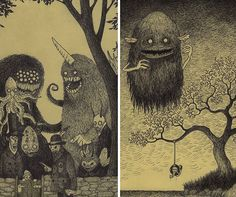 Danish artist John Kenn Mortensen (who goes by Don Kenn on Tumblr and other sites) taps into the terror of our childhood nightmares with bri...