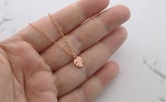 Tiny tropical leaf pendant dainty leaf necklace small leaf