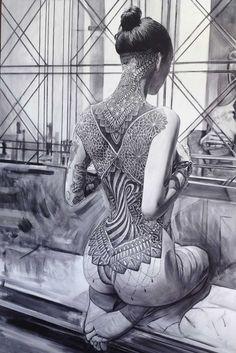 Une sélection des superbes peintures de l'artiste anglais Philip Munoz, basé à Bristol, qui met en scène des jeunes femmes tatouées dans des portraits s