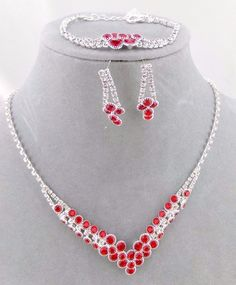 Red Crystal Rhinestone Necklace Bracelet Earring Set Silver Fashion Jewelry NEW #ChristinaCollection