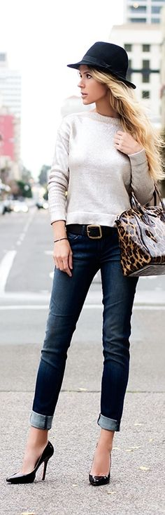 New Fashion Trends: Pants trends 2015 Love how the jeans are folded at the knees. Cute leopard bag.