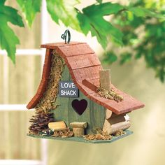 """""""Love Shack"""" Little Wooden Birdhouse with Heart Door Country Cottage Yard Decor"""