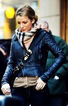 ...Burberry scarf, black leather jacket...