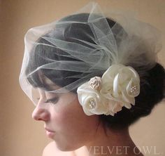 Bridal veil and hair clip or comb fascinator detachable Ivory tulle blusher birdcage with satin roses and tiny pearls - ROSALIAH