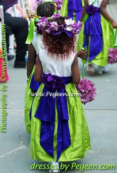 Flower girl dresses in green and purple silk. 2011 Pegeen Wedding of the  Year Honorable 1bf90b1aa