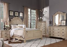 Cortinella White 5 Pc Queen Sleigh Bedroom at Rooms To Go ...