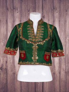 Wonderful Green Silk Ready Made Blouse
