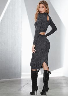Who knew a sweater dress could be so sexy? We did. :) Venus back detail sweater dress with Venus tie back boot.