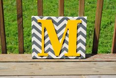 Personalized Grey Chevron With Yellow Initial by LettersFromAtoZ