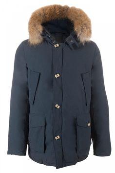 Heren winterjas met afneembare bontkraag Blauw – BK Leder