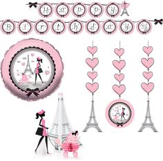"""Features:  -Includes centerpiece (eiffel tower 11"""" x 6"""" x 6""""/french poodle 4.75"""" x 4.25""""/parisienne 8"""" x 3""""), shaped ribbon banner 7"""" long, balloon 18"""", 3 hanging cutouts 36"""" H (party in Paris).  -Mat"""