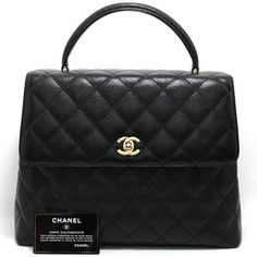 Mint Authentic Chanel Large Caviar Handbag Bag Leather Black Flap Quilted 709 | eBay