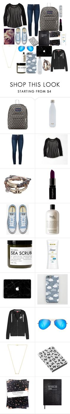 """""""School #3"""" by starry-night2021 ❤ liked on Polyvore featuring JanSport, S'well, Frame, American Eagle Outfitters, Smashbox, philosophy, Fig+Yarrow, Dove, NIKE and Ray-Ban"""