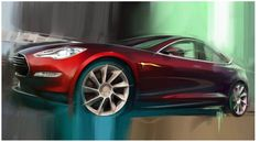 The new Tesla sedan in red. Fast. Sleek. American made, designed, and engineered. Best yet: eco-friendly.