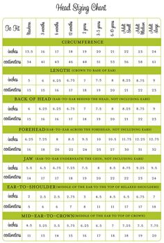 Super helpful size chart for children preemie to 10 yrs includes