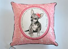 Chihuahua cushion cover dog pillow sweet chihuahua by MimoCadeaux, $30.00