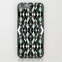 Art Deco Mint iPhone & iPod Case #art #deco #mint #white #black #silver #lines #geometric
