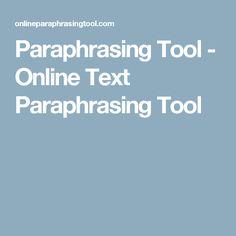Paraphrasing Tool - Online Text Paraphrasing Tool