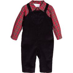 Baby boys dungarees and shirt set by Rachel Riley. The navy blue dungarees are made from soft cotton corduroy, with adjustable shoulder strap. It has a cute little pocket on the front, is elasticated at the back, with buttons to fasten at the sides and between the legs. The red tartan cotton shirt fastens with buttons on the front and cuffs and there is a pocket on the chest. A lovely outfit, which can also be worn separately with other items from the wardrobe.
