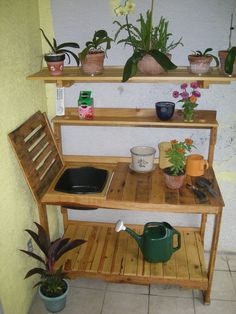 Reclaimed Wood Potting Bench. This one is pricey on Etsy, but will make a pallet potting bench. Mom's future gift.