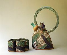 Handbuilt Stoneware Tea Set with Five Cups by PotterybyHelene, $265.00