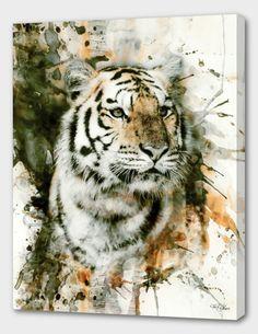 Tiger I Leinwandkunst von Riza Peker iCanvas Watercolor Tiger, Tiger Painting, Watercolor Animals, Watercolor Paintings, Painting Art, Animal Paintings, Animal Drawings, Art Drawings, Big Cats Art