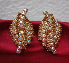 vintage Kramer AB Rhinestone earrings by serendipitytreasure, $19.99