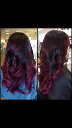 15 ideas for red ombre hair. Trends of red ombre hair. Ideas about ombre hair color. Balayage Hair Purple, Purple Hair, Plum Hair, Red Purple, Burgundy Balayage, Violet Hair, Magenta, Teal, Ombre Hair Color