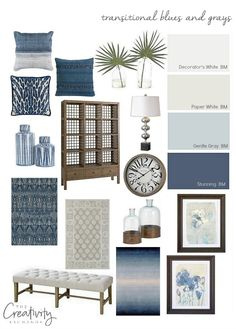 Layering transitional blues and grays in a home. Bassett Home Furniture. #ad