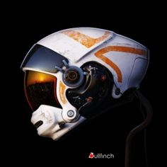 white and orange futuristic helmet concept