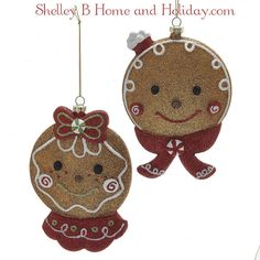 Glittered Gingerbread Head Boy and Girl Ornaments d2779