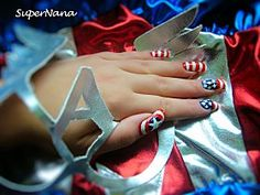 Miss Captain America Nail Art. Doing this to go with my halloween costume!