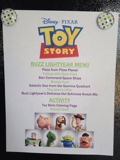 Toy Story Menu - Buzz Lightyear Menu - Toy Story Movie Night - Disney Movie Night - Family Movie Night
