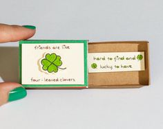 Cute Friendship Card Matchbox/ Gift box/ Good Friends are like four leaved clovers