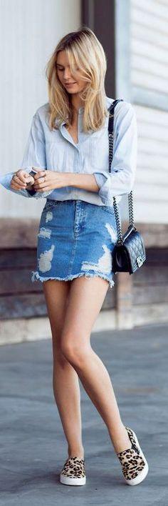 35fbc3d95 Denim: your uniform since forever. This is a slim fitting, vintage mini  skirt