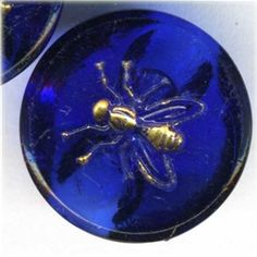 Vintage Cobalt Blue Glass Picture Buttons with Gold Fly