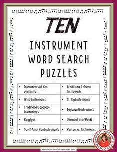 music lessons  |  instrument Word Search Puzzles ♫ CLICK through to preview or save for later!  ♫    #musiceducation