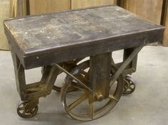 Antique Industrial Factory Lumber Railroad Cart Coffee Table Nutting Lineberry