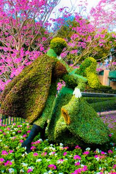 Disney World - Prince Phillip And Aurora Topiaries.