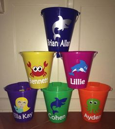Personalized Beach Buckets by FunkyFleurs on Etsy