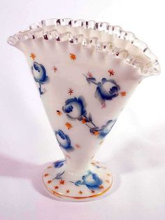 Hand Painted Fenton Fan Vase | Fenton Silver Crest Hand Painted Rose Fan Vase