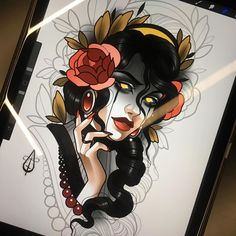 Neo Traditional Art, Traditional Tattoo Old School, Traditional Tattoo Flash, American Traditional, Tattoo Sketches, Tattoo Drawings, Tattoo Ink, Desenho New School, Girl Face Drawing