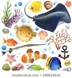 Stock Photo By Faenkova Elena Watercolor Illustration Children, Exotic Fish, Underwater World, Free Illustrations, Sea Shells, Coral, Kids Rugs, Anemones, Art