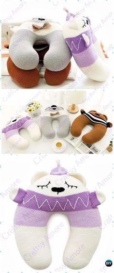 Crochet Bear Travel Neck Pillow Free Pattern - Crochet Travel Neck Pillow Patterns Tutorials Crochet Diy, Crochet Amigurumi, Crochet Bear, Crochet For Kids, Crochet Crafts, Crochet Dolls, Crochet Projects, Diy Crafts, Baby Knitting Patterns