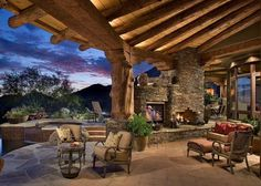 outdoor porch fireplace | Use natural material – even stone veneers to your outdoor home