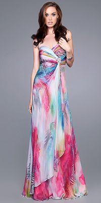 Multi Color Print Prom Dresses by La Femme