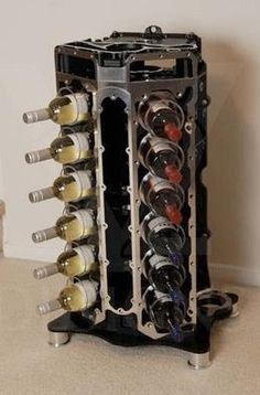 timelesswoodshop:  V12 Engine Wine Rack